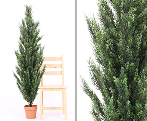 Zypresse künstlich, mit Zementfuß, 170cm hoch – Kunstpflanze – Kunstbäume