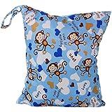 Linda Bebé Bolsa Impermeable de Tela Reutilizable Azul Bolsa de Pañales Pintada Monos