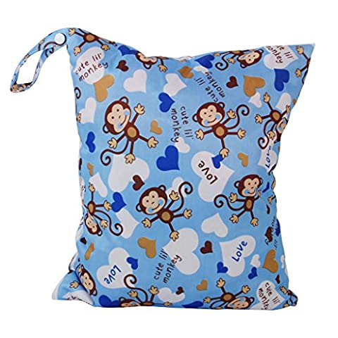 2-Zip Washable Baby Cloth Diaper Nappy Bag Monkey Heart Blue