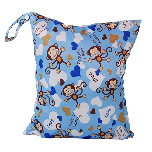 2-Zip Washable Baby Cloth Diaper Nappy Bag Monkey Heart Blue Test