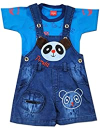 Kiddie Clap Denim Dungree Set with Half Sleeves Printed T-Shirt for Baby Boys(Blue)