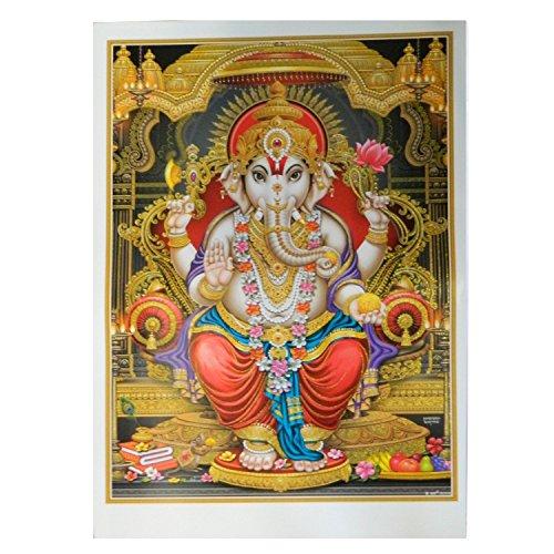 Bild Ganesha 92 x 62 cm Gottheit Hinduismus Kunstdruck Plakat Poster Glitzerfarbe Religion Spiritualität Dekoration