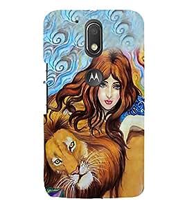 Beautiful Girl with a Lion 3D Hard Polycarbonate Designer Back Case Cover for Motorola Moto G4 Plus :: Moto G4+