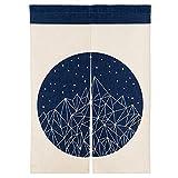 MR FANTASY Noren Japanische Tür Vorhang Tapisserie Raumteiler Baumwoll Leinen Geometrische Berge Blau 85x120cm