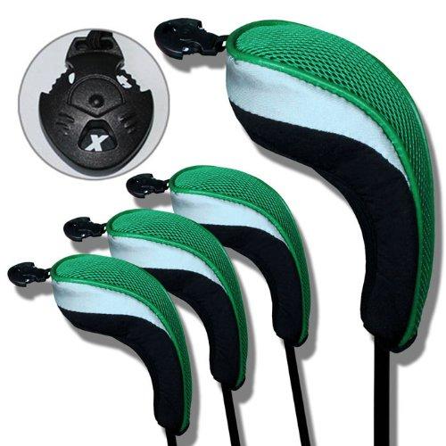 Andux Golf Eisen deckt Eisenhauben austauschbar Hybrid golf Schlägerkopfhüllen Nr. Etikett 4pcs/set MT/hy05 schwarz/grün -