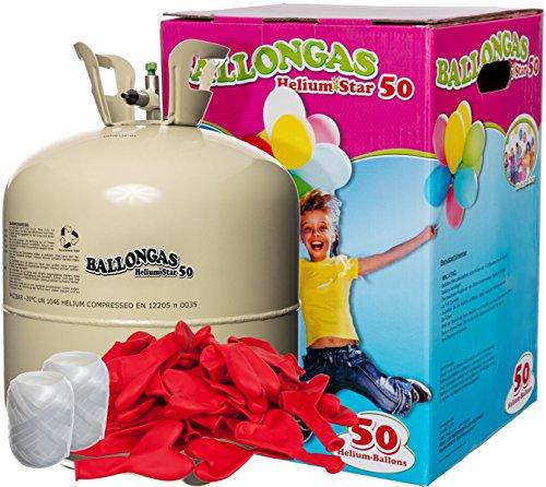 Preisvergleich Produktbild Helium Ballongas + 50 rote Herz-Luftballons (Ø 25cm) + Polyband; HeliumStar® Einwegflasche XXL mit 0,420 m³ Liter Helium Gas für 50 Ballons