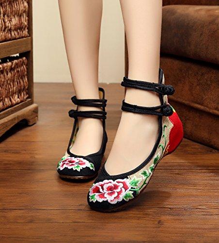 ZLL pattini ricamati, biancheria, unico tendine, stile etnico, scarpe femminili, moda, comodo, doppia cinghia Black