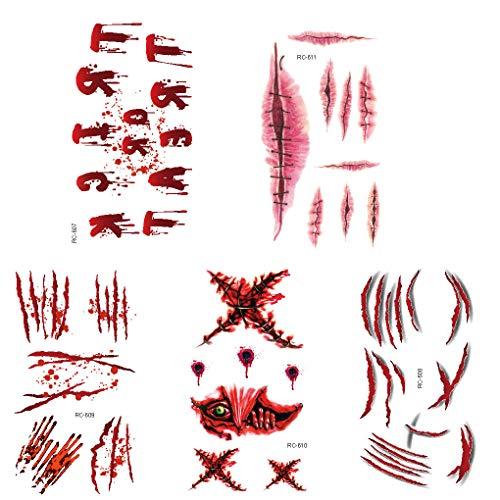 Floridivy 5PCS Halloween-Geist-Narben Tätowierung-gefälschte Schorf blutigen Make-up-Party-Dekoration Wunde Scary Blut Injury Sticker