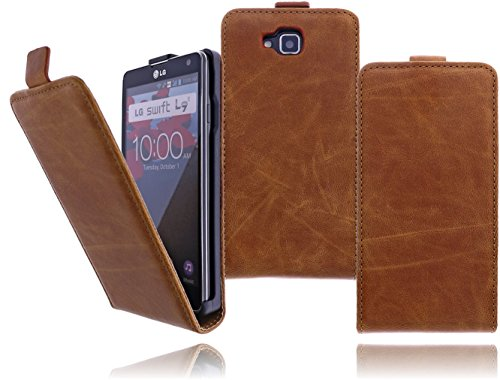 Premium Flip Case Handytasche für das LG D605 Optimus L9 II Flip Cover Etui Schutzhülle Tasche Hülle mit Magnetverschluss in Braun