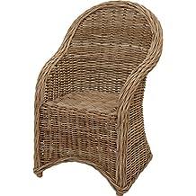 Moderner Esszimmer Sessel / Korbsessel Aus Grauem Natur Rattan    Versandkostenfrei In DE