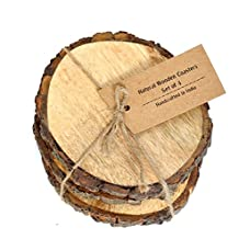 Casa Décor Large Natural Mango Tree Bark Wooden Coasters with Hemp Tie - 5 inch