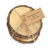 Casa Decor Large Natural Mango Tree Bark Wooden Coasters- 5 inch with Hemp Tie