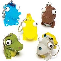Llaveros de dinosaurios con ojos saltones para niños - Perfectos para bolsas sorpresa o como regalo para niños (pack de 6).
