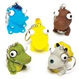 Baker Ross- Llaveros de Dinosaurios con Ojos saltones (Pack de 6) para Bolsas de cotillón para niños