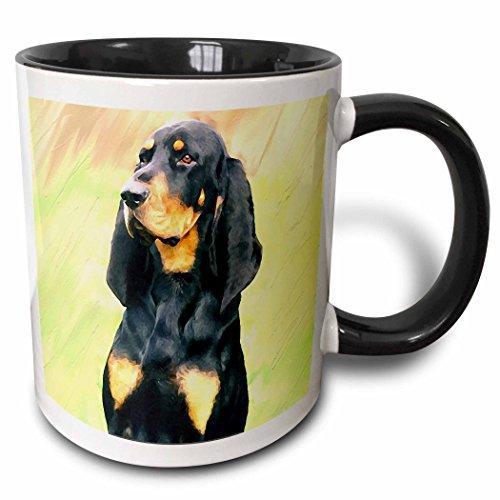 3dRose 4409_4 and Tan Coonhound-Two Tone Black Mug Becher keramik mehrfarbig