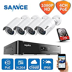 [Updated 1920*1080p] Sannce 4CH 1080P sPoE NVR HD Video CCTV System Kit w/ 4 1080P 2.0 Megapixels Indoor/ Outdoor Night Vision Security Camera+ 1TB 3.5 Professional HDD (Power Over Ethernet, e-Cloud, Motion Detect, Email Alert, Smartphone Scan QR Code Quick Remote Access)
