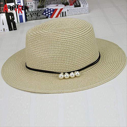 31a2e0d98696 lxlwxh541 Hat Summer Beach Pearl Sun Hat Wide Eaves Grass-Made Sun Straw Hat