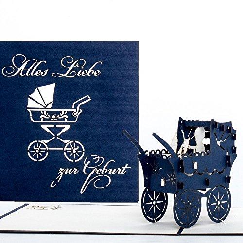 """3D Geburtskarte\""""Kinderwagen\"""" in Blau - Pop Up Karte zur Geburt - Babykarte Baby Junge - Glückwunschkarte zum 1. Geburtstag - als Gutschein, kleines Geschenk, Geschenkgutschein & Geschenkverpackung"""