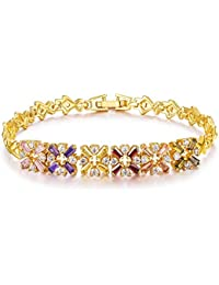 YELLOW CHIMES Checkers Swiss Cubic Zirconia 18K Gold Plated Bracelet for Women and Girls