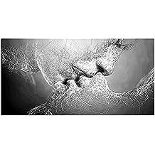 ZHOUBA Cuadro Moderno Monocromo Amor Beso Abstracto Arte sobre Lienzo Pintura Pared Arte Decoración Hogar 100*60cm Black and White