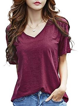 ZXCB Camiseta De Algodón Con Cuello En V Color Puro Para Mujer Camiseta De Manga Corta Casual Suelta Transpirable