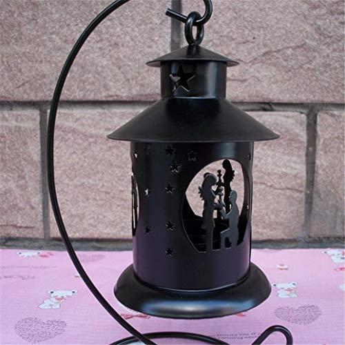 (Tragbare Goodies-Taschen-Ideen-Party-Taschen Marokkanische Hochzeit Kerzenhalter Eisen Handwerk romantische Kerzenständer Halloween Dekor (schwarz) (Farbe : Black, Größe : 10.5 * 10.5 * 24.2cm))