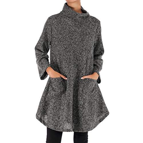 Tianwlio Damen Lässige Langarmshirt Hoodie Pullover Rollkragenpullover mit Unregelmäßigem langem Hemd und Blusen Grau XL