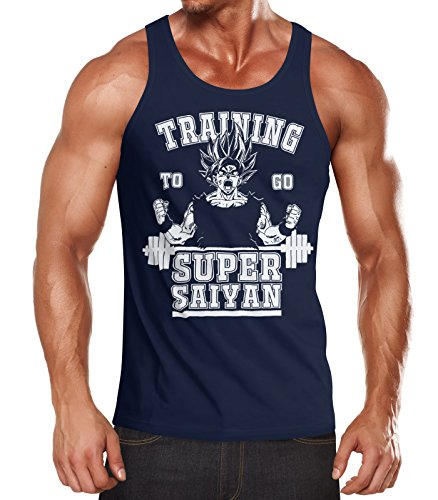MoonWorks MoonWorks Herren Tanktop, Son Goku Super Saiyajin Saiyan, Training Gym Fitness Muskelshirt Navy S