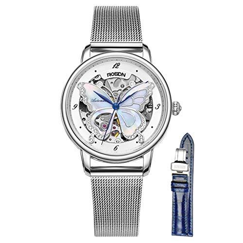 Dlt orologio da donna con avvolgitore automatico moda, cinturino a farfalla con visiera vuota, orologi da donna con cinturino in maglia milanese, orologio da polso analogico impermeabile 50m