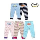 Baby Jungen 5 Pack Neugeborenen zu Toddler Baumwolle Long Cartoon Hosen Geschenk-Set 12-18M