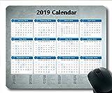 2019 Kalender-Mauspad schwarz, Kalendermonate Gaming-Mauspad, Kalenderplaner 2019 mit Feiertagsdetails