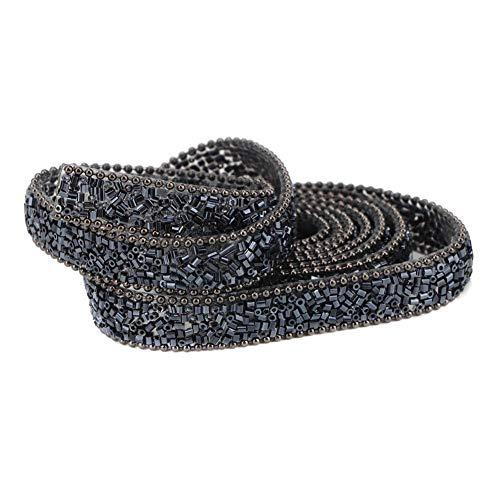 Sheens perline a tubo fai-da-te rotolo di maglia avvolgente catena di strass di cristallo monofacciale in gomma a caldo stampaggio perline striscia decor per abito da sposa collana(#01 1cm blue)