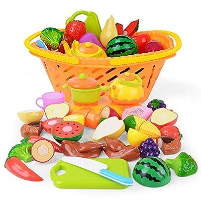 NextX Jeu D'imitation - 20 pièces Set - Jeu de cuisine legumes fruits Jouet éducatif pour Bébé et Enfants