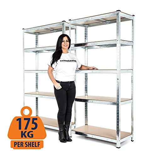 Preisvergleich Produktbild 2BAY verzinkt Regal Garage Racking Regal 175kg pro Ablage (5Ebenen 1800mm H x 900mm W x 400mm D) + kostenlose Lieferung am nächsten Tag)