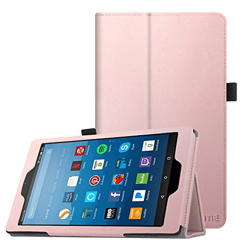 Fintie Hülle für Amazon Fire HD 8 Tablet (7. und 8. Generation - 2017 und 2018) - Premium Folio Kunstleder Schutzhülle Tasche mit Standfunktion und Auto Sleep/Wake Funktion, Roségold