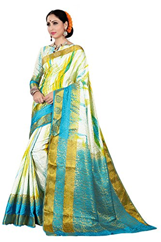 IndoPrimo Women's Clothing Casual Party Wear Saree for Women (White Rama)