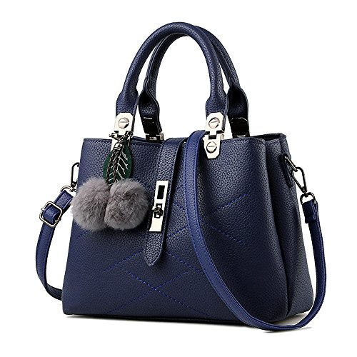 Greeniris Damen Elegant Top Handle Handtasche PU-Leder Schultertasche Grau Saphirblau