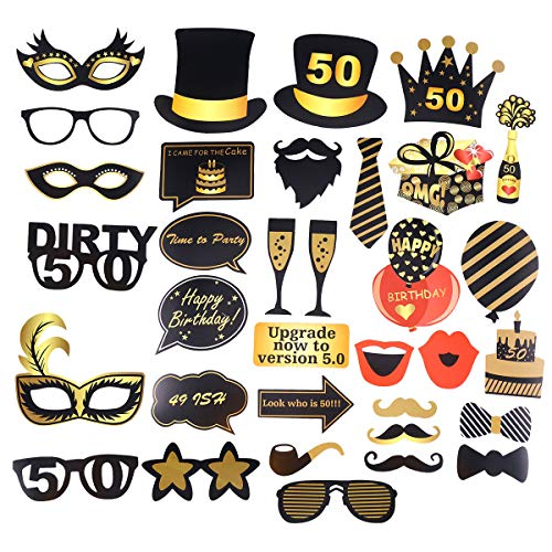 oto Booth Prop Set 50. Geburtstag Dekorationen Selfie Requisiten Dress Up Dekorationen Geburtstag Party Favor Supplies 35 stücke ()
