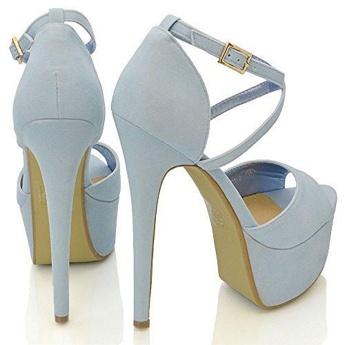 ESSEX GLAM Sandalo Donna Peep Toe con Lacci Plateau Tacco a Spillo Alto Blu Pastello Finto Scamosciato