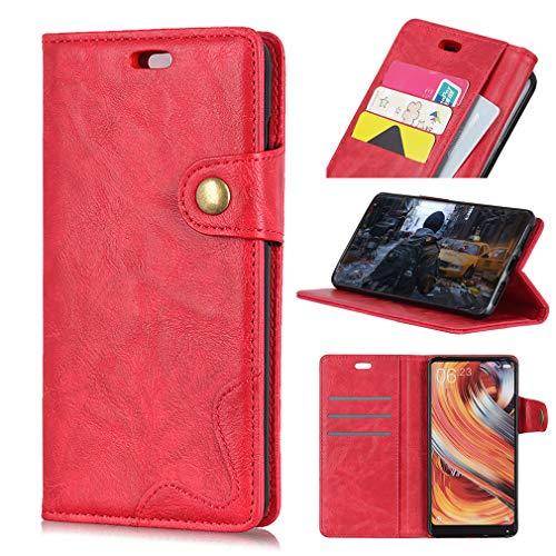 SZHTSWU Hülle für Alcatel 3 5052D (5,5 Zoll), S-Typ Crazy Horse Muster PU Leder Tasche Brieftasche Flip Wallet Case Schutzhülle mit Kartenfächern, Rot