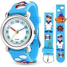 Bling Jewelry Reloj Azul Analógico para Niños Acero Inoxidable con Diseños de Marinero y Barco Náutico
