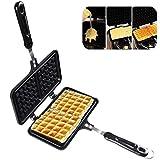 xiegons3 Waffle Maker Doppio Lato Riscaldamento Ferro da Stiro Soffio Torta Forniture da Cucina Risparmio di Tempo Antiaderente Bolla Facile da Pulire Colazione Stufa in Alluminio pressofuso