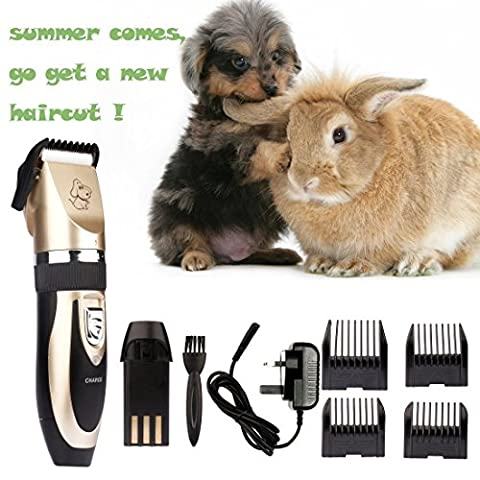 Cordless Dog Trimmer of Triple Tree Rabbit Hair Shaver Low Noise Pet Grooming Kit for Small/Large Dogs, Rabbit etc.