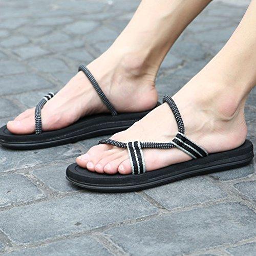 CHENGYANG Herren Damen Unisex Flip Flops Schuhe Strand Slipper Flip-Flops Zehentrenner Sandalen Schwarz#Herren