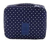 EOZY-Borsa Cosmetici Beauty Case da Viaggio Sacco Impermeabile per Accessori Bagno (Blu con Punti) immagine