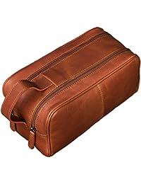 STILORD 'Valentin' Vintage Neceser para Hombres Mujeres marrón XL Grande Bolsa de Lavado de piel cuero auténtico cognac - marrón