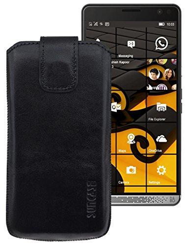 Suncase ECHT-LEDER Tasche Etui für HP Elite X3 (mit Rückzugsfunktion, Magnetverschluss) schwarz