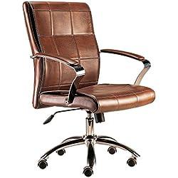 Silla de oficina giratoria sillon despacho escritorio estudio con brazos basculante. CUERO MARRON