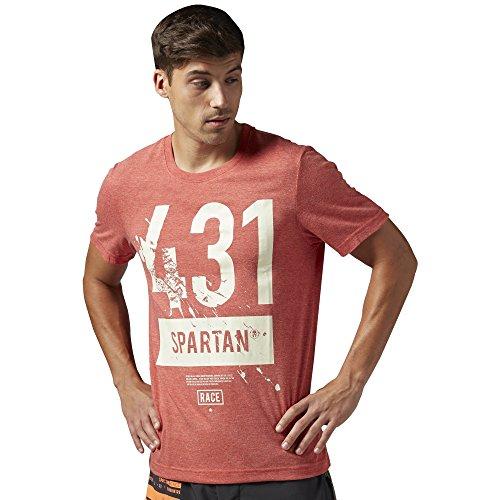 Reebok t-shirt da uomo a maniche corte Spartan Race Tri blend, China Red, m, AJ0622
