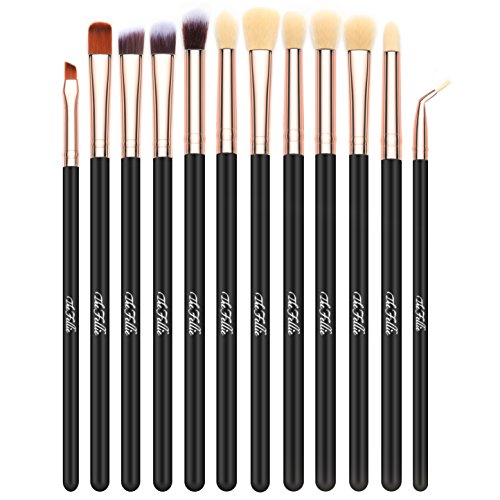 The Fellie 12 pcs Eye Brushes Ombre À Paupières Brush Set Brosses de Mélange Eyeliner Brosse Maquillage Des Pinceaux Ensemble (Or rose)